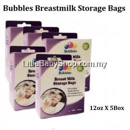 BUBBLES Double Zip-Lock Breast Milk Storage Bags 12oz 50 Bags (5 Box )
