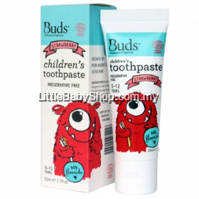 Buds Oralcare Organic Children's Toothpaste with Fluoride 50ml (3-12 Yrs Old) -Strawberry