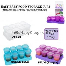 AUTUMNZ Easy Baby Food Storage Cups 8pcsx2oz + 1 Tray (Clear/Ocean Blue/Plum)
