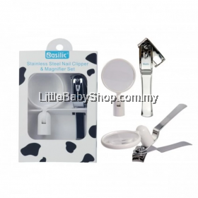 Basilic Stainless Steel Rotary Nail Clipper Magnifier Set