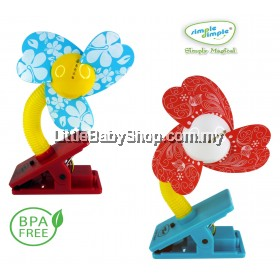 Simple Dimple Clip On Fan (Blue/Red)