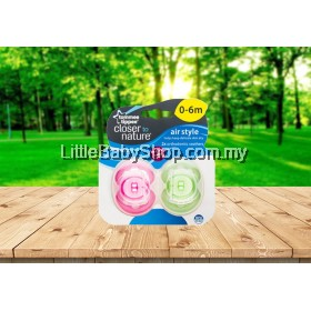 TOMMEE TIPPEE Closer To Nature Air Style 0-6m Soother 2Pcs - Pink/Green