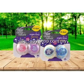 TOMMEE TIPPEE Closer To Nature Night Time 0-6m Soother (Twin Pack)