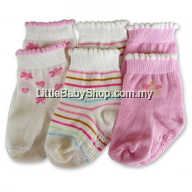 Bumble Bee 3 Pairs Pack Pink Flower Socks