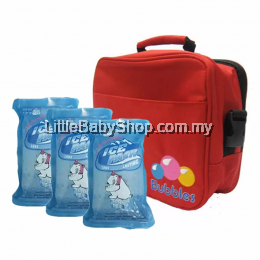 Bubbles Premium Cooler Bag (Red) With 3 Pieces BBICE Reusable Ice Pack