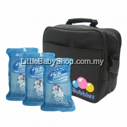 Bubbles Premium Cooler Bag (Black) With 3 Pieces BBICE Reusable Ice Pack