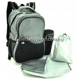 Bubbles  Aiden Diaper Backpack (Black/Grey)