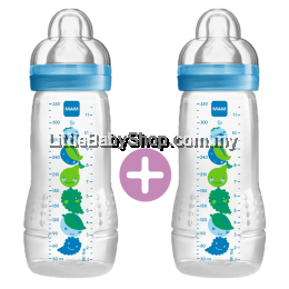 MAM Easy Active Baby Feeding Bottle 330ml - Double Pack Blue