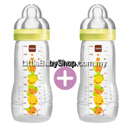 MAM Easy Active Baby Feeding Bottle 330ml - Double Pack Yellow