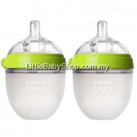 [GENUINE] Comotomo Natural Feel Baby Bottle 150ML Green (Twin)