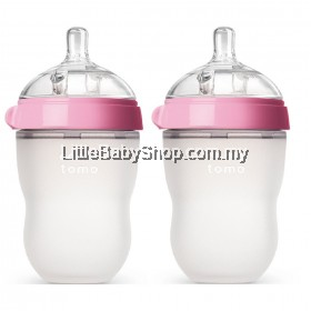 [GENUINE] Comotomo Natural Feel Baby Bottle 250ML Pink (Twin)