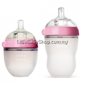 [GENUINE] Comotomo Natural Feel Baby Bottle Pink (Mixed) - 250ml+150ml