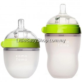 [GENUINE] Comotomo Natural Feel Baby Bottle Green (Mixed) - 250ml+150ml