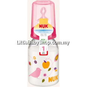NUK  Classic  Standard Neck Bottle With Silicone Teat 1M (0-6m) 1pk 110ml  Single-Pink