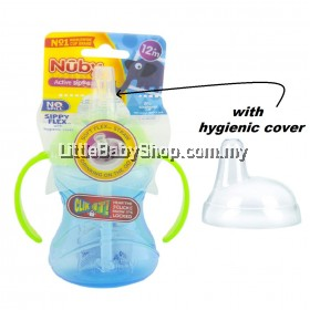NUBY No Spill Sippy Flex with Soft Flex Straw and Hygienic Cover (10160) - Blue