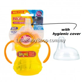 NUBY No Spill Sippy Flex with Soft Flex Straw and Hygienic Cover (10160) - Orange