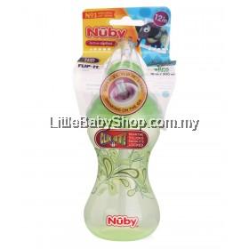 Nuby Click It Soft Flex Flip-It Straw Designer Series 300ml - Green