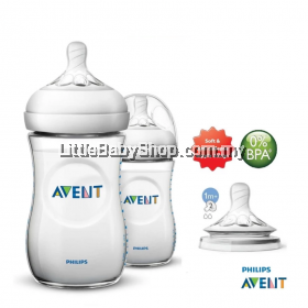 Philips Avent Natural Bottle 260ml/9oz Twin Pack Extra Soft Teat