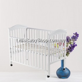 """BABYLOVE Baby Cot Solid Wood (BL818) White 24"""" x 48"""""""