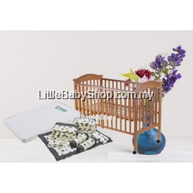 """BABYLOVE Baby Cot Solid Wood (BL840) Natural 24"""" x 48"""" - Combo"""