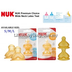 Nuk Premium Choice Wide Neck Latex Teat  2pcs (Size S/M/L) (S1 0-6months/S2 6+months)