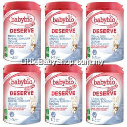Babybio Deserve Organic Formulated Goat's Milk Powder for Children 1-3year (900g)X6