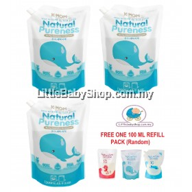 K-Mom Nature Pureness Laundry Detergent Refill Pack (1300ml x 3) - Free Gift (NEW PACKAGING)