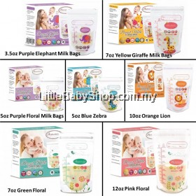 AUTUMNZ Breast Milk Storage Bags Pre-sterilised Double ZipLock Bags - 28Bags (3.5oz / 5oz / 7oz / 10oz / 12oz)