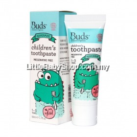 Buds Oralcare Organic Children's Toothpaste with Xylitol 50ml (1-3 Yrs Old) - Peppermint