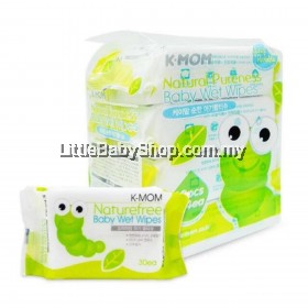 K-Mom Natural Pureness Baby Wet Wipes 30pcs x 4