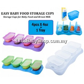 AUTUMNZ Easy Baby Food Storage Cups 4pcsX4oz + 1 Tray (Clear/Green/Plum)