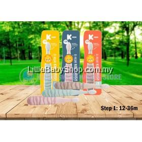 K-MOM Kids Brush Step 1 Toothbrush (12-36M) - Peach/Brown/Mint