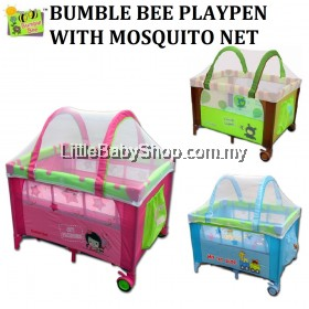 BUMBLE BEE Playpen with Mosquito Curved Net / Mattress