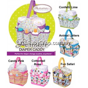 AUTUMNZ Portable Diaper Caddy (Confetti Lime/Cottontail Rose/Candy Pink)