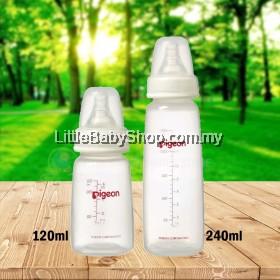 PIGEON Slim Neck PP Bottle 120ml/240ml with Peristaltic Nipple (0-3m S round hole / 4,5m+ M round hole)