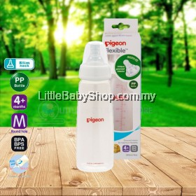 PIGEON Slim Neck PP Bottle with Flexible Peristaltic Teat 240ml (4m+ / M Round Hole)