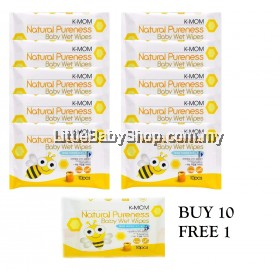 K-Mom: Natural Pureness Baby Wet Wipes 10pcs ( Buy 10 FREE 1)