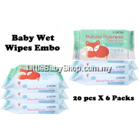 K-Mom: Natural Pureness Premium Baby Wet Wipes Embo 6 x 20pcs (BEST BUY)