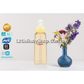PIGEON Slim Neck PPSU Bottle with Peristaltic Teat 240ml (4,5m / M Round hole)
