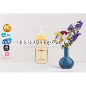 PIGEON Slim Neck PPSU Bottle with Peristaltic Teat 160ml (0-3m / S Round hole)