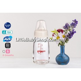PIGEON Slim Neck Glass Bottle With Peristaltic Nipple 120ml (0-3m / S round hole)