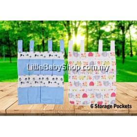 BABYLOVE Premium 100% Cotton Baby Cot Organizer (6 Storage Pockets)