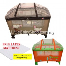 Little Bean Baby Playpen with Mosquito Net - Brown / Orange