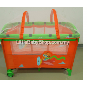 Little Bean Playpen Orange With Mosquito Net