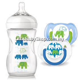 Philips Avent  Elephant Design Bottle + Pacifiers-Boy