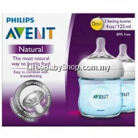 PHILIPS AVENT Natural Bottle 125ml/4oz (Blue) - Twin Pack