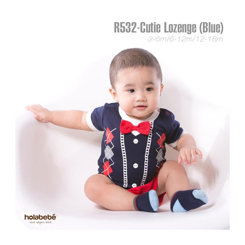 Holabebe R532 Cutie Lozenge Blue Romper L Little Baby
